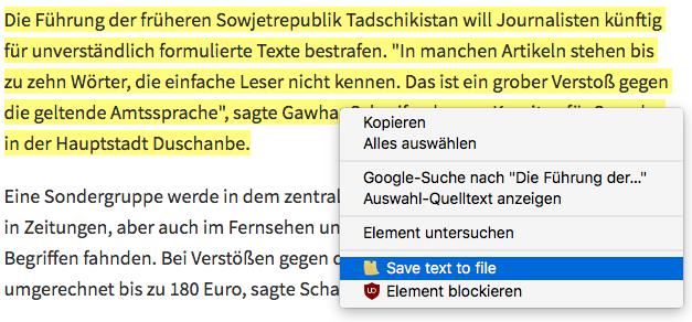 Screenshot: Auswahl der Funktion im Firefox-Kontextmenü