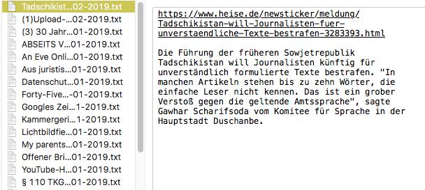 Screenshot: Auswahl der txt-Datei mit dem Exzerpt im Mac-Finder